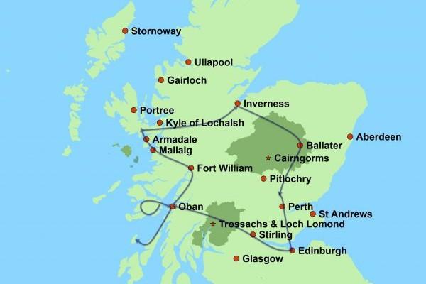 Schottland Karte Highlands.Schottische Westküste Und Inselwelt Selbstfahrer Rundreise
