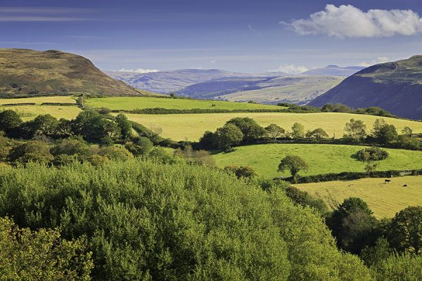 View from Upper Tawe valley towards Corn Du and Brecon Beacons Powys Valleys South Scenery
